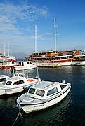 Boats in harbour, Korcula town, island of Korcula, Croatia