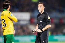 (L-R) Abdenasser El Khayati of ADO Den Haag, referee Edwin van de Graaf during the Dutch Eredivisie match between PEC Zwolle and ADO Den Haag at the MAC3Park stadium on October 28, 2017 in Zwolle, The Netherlands