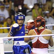 2. WOMEN'S WORLD BOXING CHAMPIONSHIPS.<br /> Swede's Nilsson Maria (L) with S.Oglou Maria(R) during their Dilek Sabanci Sport Hall Antalya/Turkey<br /> Photo by Aykut AKICI/TurkSporFoto
