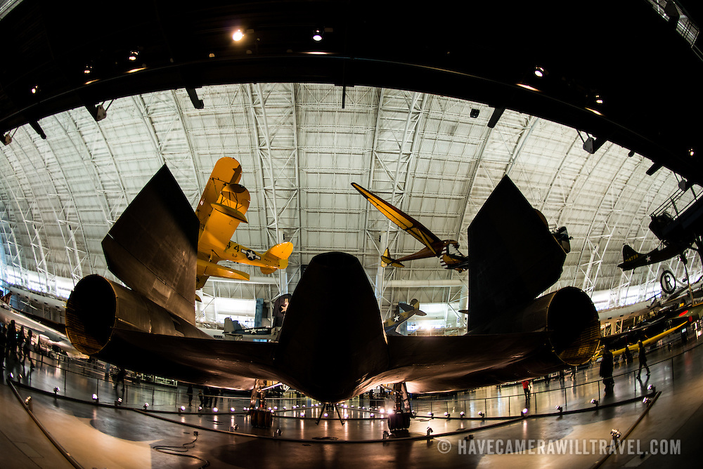 A silhouette of the rear of the Lockheed SR-71 Blackbird on display at the Smithsonian National Air and Space Museum's Udvar-Hazy Center. Located near Dulles Airport, the Udvar-Hazy Center is the second public facility of the Smithsonian's National Air and Space Museum. Housed in a large hangar are a multitude of planes, helicopter, rockets, and space vehicles.