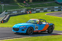 James Cossins pictured while competing in the BRSCC Mazda MX-5 SuperCup Championship. Picture taken at Cadwell Park on August 1 & 2, 2020 by BRSCC photographer Jonathan Elsey