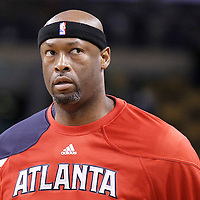 10 May 2012: Atlanta Hawks center Erick Dampier (25) is seen during the Boston Celtics 83-80 victory over the Atlanta Hawks, in Game 6 of the Eastern Conference first-round playoff series, at the TD Banknorth Garden, Boston, Massachusetts, USA.