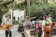 Residents gather for an evening of free music outside the Eleven-45 coffee house in the village of McClellanville, South Carolina.