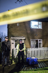 © Licensed to London News Pictures . 08/12/2013 . 78 Springwood Hall Road , Oldham , UK . The 22 year old mother of a four-month old girl , Victoria Adams , was found stabbed in the chest at 78 Springwood Hall Road , Oldham , yesteday morning (8th December 2013) . She later died in hospital . A 29 year old man has been arrested on suspicion of murder .  . Photo credit : Joel Goodman/LNP