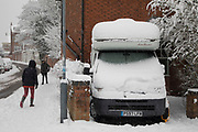 Snow covered motor home in Moseley during heavy snow fall on Sunday 10th December 2017 in Birmingham, United Kingdom. Deep snow arrived in much of the UK, closing roads and making driving treacherous, while many people simply enjoyed the weather.