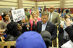 April 24, 2017 - Camden, NJ - United States congressman DONALD NORCROSS (D-NJ) speaks with protestors at a town hall meeting in Camden NJ Monday. The protestors were voicing their concerns with the current Camden school system. (Credit Image: © Scott Anderson via ZUMA Wire)