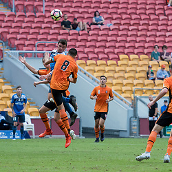 BRISBANE, AUSTRALIA - MARCH 25: Thomas Fanning of SWQ Thunder heads the ball during the round 5 NPL Queensland match between the Brisbane Roar and SWQ Thunder at Suncorp Stadium on March 25, 2017 in Brisbane, Australia. (Photo by Patrick Kearney/Brisbane Roar)