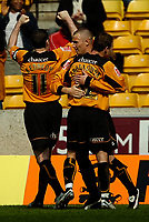 Photo: Ed Godden.<br />Wolverhampton Wanderers v Brighton & Hove Albion. Coca Cola Championship. 22/04/2006. Kenny Miller (C) celebrates scoring his penalty for Wolves.