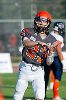 KELOWNA, BC - AUGUST 3:  Dominic Britton #23 of Okanagan Sun throws the ball during warm up against the Kamloops Broncos at the Apple Bowl on August 3, 2019 in Kelowna, Canada. (Photo by Marissa Baecker/Shoot the Breeze)