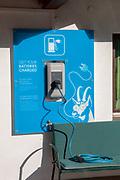 Electric car charging station photographed in Neustift, Stubai, Tyrol, Austria
