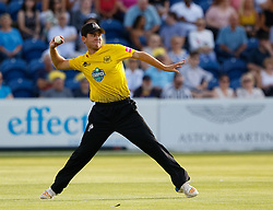 Gloucestershire's Ryan Higgins throws in to the keeper<br /> <br /> Photographer Simon King/Replay Images<br /> <br /> Vitality Blast T20 - Round 8 - Glamorgan v Gloucestershire - Friday 3rd August 2018 - Sophia Gardens - Cardiff<br /> <br /> World Copyright © Replay Images . All rights reserved. info@replayimages.co.uk - http://replayimages.co.uk