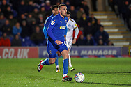 AFC Wimbledon midfielder Dylan Connolly (16) dribbling during the EFL Sky Bet League 1 match between AFC Wimbledon and Peterborough United at the Cherry Red Records Stadium, Kingston, England on 12 March 2019.