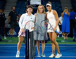 September 5, 2018 - Carla Suarez Navarro of Spain & Madison Keys of the United States pose with Martina Hingis before their quarter-final match at the 2018 US Open Grand Slam tennis tournament. New York, USA. September 05, 2018. (Credit Image: © AFP7 via ZUMA Wire)