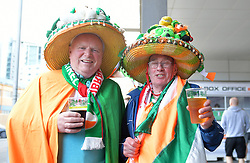 Republic of Ireland fans wearing Irish themed hats prior to the UEFA Euro 2020 Qualifying, Group D match at the Victoria Stadium, Gibraltar.