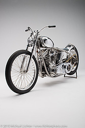 """Naked Suicide"", a raw metal custom built from a Harley-Davidson panhead by Bill Dodge of Bling's Cycles in Daytona Beach, FL. Photographed by Michael Lichter in Sturgis, SD on July 29, 2015. ©2015 Michael Lichter."
