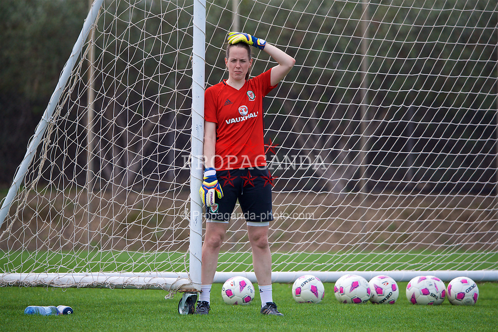 LARNACA, CYPRUS - Sunday, March 4, 2018: Wales' goalkeeper Laura O'Sullivan during a training session in Larnaca on day six of the Cyprus Cup tournament. (Pic by David Rawcliffe/Propaganda)