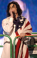 Michael Jackson performing on the United We Stand: What More Can I Give?  benefit concert at RFK Stadium in Washington, DC.  October 21, 2001 (Photo by Jeff Snyder