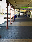 A covered walkway along Tay Street in the Central Business District of Invercargill, New Zealand, as protection against rain and the elements
