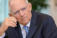 06 NOV 2019, BERLIN/GERMANY:<br /> Wolfgang Schaeuble, CDU, Bundestagspraesident, waehrend einem Interview, in seinem Buero, Reichstagsgebaeude, Deutscher Bundestag<br /> IMAGE: 20191106-02-017<br /> KEYWORDS: Wolfgang Schäuble