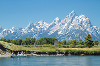 Fly fishing for trout on the Snake River in Grand Teton National Park, WY.