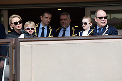 TABLOID OUT WEB & PRINT - Prince Albert II of Monaco, Princess Charlene of Monaco with Crown Prince Jacques of Monaco and Princess Gabriella of Monaco attend the Sainte Devote Rugby Tournament at Louis II Stadium in Monaco, on May 11, 2019. Photo by David Niviere/ABACAPRESS.COM
