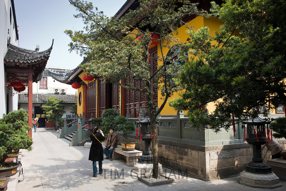 Tourists visit the Jade Buddha Temple, Shanghai, China
