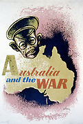 World War II 1939-1945: Australian propaganda poster c1941-1943 emphasising the Japanese threat, and showing a map of Australia and the face of Hirohito.