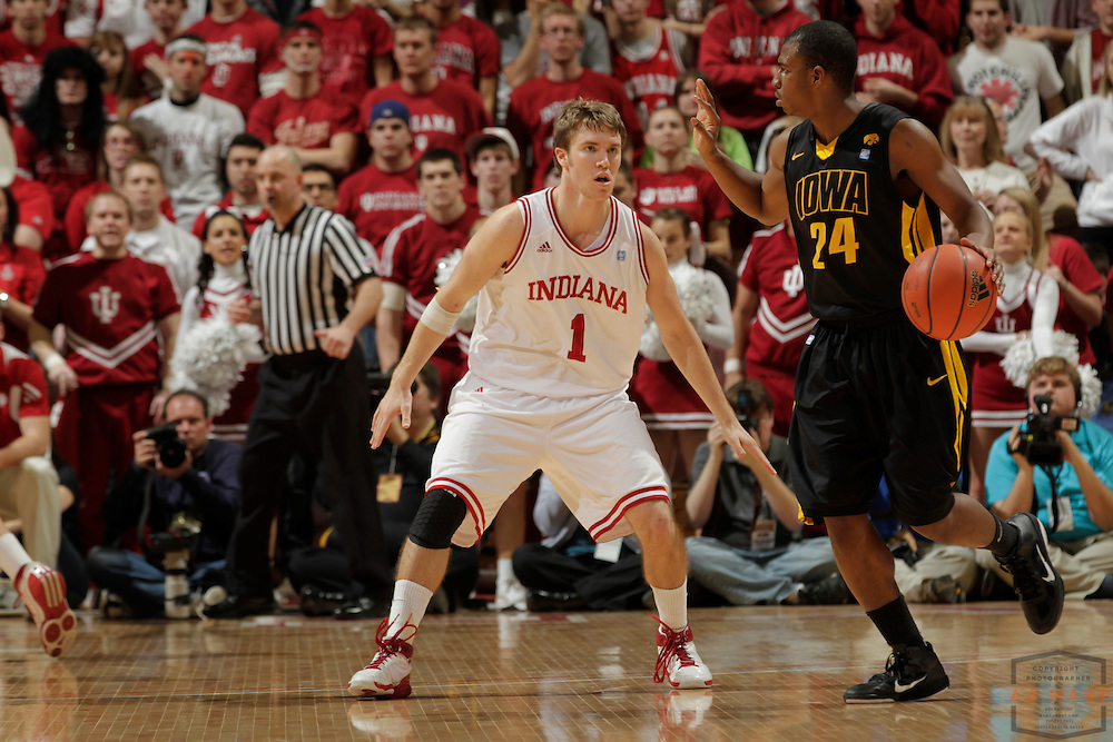 05 February 2011: Indiana guard Jordan Hulls (1)  as the Indiana Hoosiers played the Iowa Hawkeyes in a college basketball game in Bloomington, Ind.