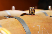 glass bung on barrel clos des quatre vents margaux medoc bordeaux france