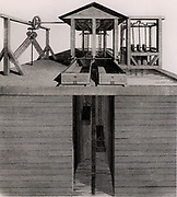Canal Lift for transferring tub boats from one level of a canal to another.  From 'A Treatise on the Improvement of Canal Navigation' by Robert Fulton (London, 1796).  Robert Fulton (1765-1815) American engineer. Engraving.