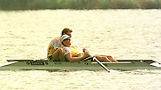 1999 World Rowing Championships St Catherines Canada. AUS M2- James Tomkins  and Bow Drew Ginn. James Tomkins relaxs back on to Drew Qinn after winning the final Mandatory Credit Peter Spurrier Intersport Images] 1999 FISA. World Rowing Championships, St Catherines, CANADA