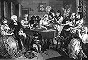 Kate Hackabout, the harlot, is placed in her coffin. Sixth and final plate in William Hogarth's series 'The Harlot's Progress' (1733). William  Beckford bought the original paintings which were destroyed in the fire at Fonthill in 1755. Engraving