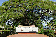 A sign at the entrance of the USS Arizona Memorial at Pearl Harbor in Honolulu, Hawaii.