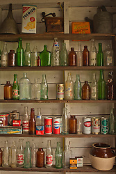 bottles and objects on shelves