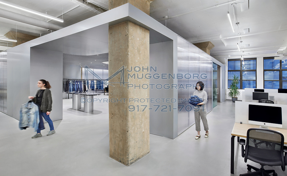 The headquarters and showroom of DL1961 in New York City. Architecture by WORKac with lighting design by Dot Dash.<br /> Photograph by John Muggenborg.<br /> @muggphoto<br /> <br /> http://www.johnmuggenborg.com