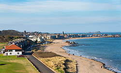 View of North Berwick town with beach on coast of East Lothian, Scotland, UK