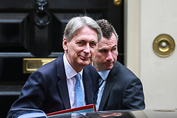 London, UK. 26 June, 2019. Chancellor of the Exchequer Philip Hammond leaves 11 Downing Street to attend Prime Minister's Questions in the House of Commons.