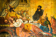 Interior murals at St. Benedict's Painted Church, Captain Cook, The Big Island, Hawaii USA