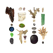 Our first day on Kadavu was hot and damp. Rainclouds battled sunshine over deep green mountains. Everything felt strange, from the stones to the weather. <br /> <br /> Driftwood, Nerites (Nerita sp.), plastic bottle cap, sea glass, beach stones, Nerite (Nerita cf. lineata), Cone Snails, paper, Calophyllum inophyllum drupe, part of a Spider Conch (Lambis sp.), spinal disks, unidentified corals, Walai vine seed (Entada phaseoloides), interior of a spiral shell.