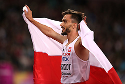 Poland's Adam Kszczot celebrates silver in the Men's 800m Final during day five of the 2017 IAAF World Championships at the London Stadium.