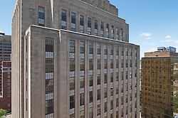 The Eli Apartments (formerly SNET Headquarters) in New Haven CT. Skyline from the roof of the New Haven County JD Courthouse. North Elevation.