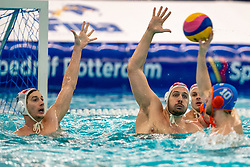 Croatia in defence during the Olympic qualifying tournament. The Dutch water polo players are on the hunt for a starting ticket for the Olympic Games on February 15, 2021 in Rotterdam