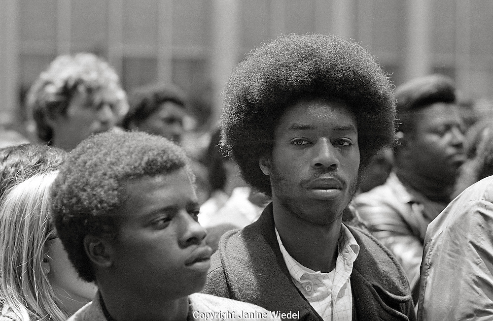"""Black Panther supporters at """"Free Huey Newton""""Rally, Federal Building , San Francisco California  May 1969"""