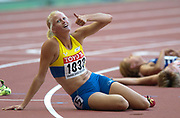 Heptathlon winner Carolina Kluft of Sweden after the final event, the 800 meters, in the IAAF World Championships in Athletics at Stade de France on Sunday, Aug, 24, 2003.