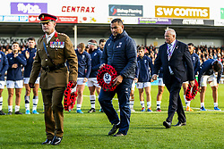 Bristol Bears Head Coach Pat Lam during the act of Remembrance before kick off - Rogan/JMP - 10/11/2019 - RUGBY UNION - Sandy Park - Exeter, England - Exeter Chiefs v Bristol Bears - Gallagher Premiership.
