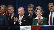 First Lady Nancy Reagan, Frank Sinatra, Charleton Heston, Robert Stack clap at an Inauguration event in January 1985..Photograph by Dennis Brack bb30