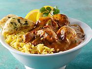 Chicken Vindaloo, pilau rice & naan bread. Tradional Bangladesh curry