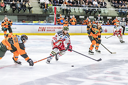 10.03.2019, Merkur Eisstadion, Graz, AUT, EBEL, Moser Medical Graz 99ers vs HCB Suedtirol Alperia, Platzierungsrunde, 54. Runde, im Bild v.l.: Amadeus Benito Egger (Moser Medical Graz 99ers), Riley Brace (HCB Südtirol Alperia), Daniel Oberkofler (Moser Medical Graz 99ers) // during the Erste Bank Eishockey League 54th round match between Moser Medical Graz 99ers and HCB Suedtirol Alperia at the Merkur Eisstadion in Graz, Austria on 2019/03/10. EXPA Pictures © 2019, PhotoCredit: EXPA/ Dominik Angerer