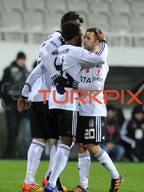 Besiktas's Manuel Fernandes (C) celebrate his goal with team mate during their Turkey Cup matchday 3 soccer match Besiktas between Gaziantepspor BSB at the Inonu stadium in Istanbul Turkey on Wednesday 11 January 2012. Photo by TURKPIX