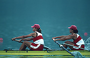 Banyoles, SPAIN, Gold Medalist,  Women's pair, Stroke CAN W2-, Stroke, Kathleen HEDDLE  and Bow Marnie McBEAN, competing in the 1992 Olympic Regatta, Lake Banyoles, Barcelona, SPAIN. 92 Gold Medalist.   [Mandatory Credit: Peter Spurrier: Intersport Images]